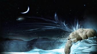 Snow digital art bears polar wallpaper