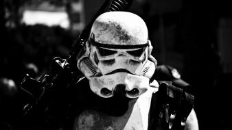 Star wars black and white stormtroopers helmets portraits wallpaper