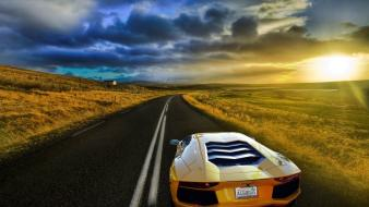 Sunset cars roads lamborghini aventador plain wallpaper