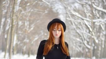 Winter snow redheads wallpaper