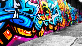 Abstract cityscapes graffiti Wallpaper