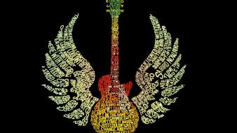 Abstract wings design typography metallic guitars hexagon wallpaper