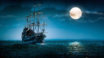 Blue ocean horizon moon ships night sky wallpaper