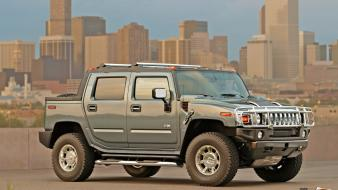 Cityscapes trucks skyscrapers vehicles hummer Wallpaper