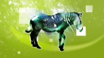 Green abstract animals zebras wallpaper