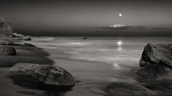 Landscapes moon rocks grayscale seascapes wallpaper