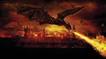 London reign of fire artwork digital art dragons wallpaper