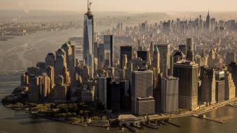 Manhattan new york city usa aerial view wallpaper