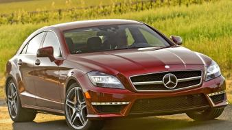 Red cars coupe mercedes-benz cls-class Wallpaper