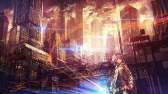 Ruins short hair scenic anime girls cities Wallpaper
