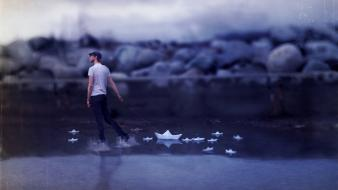 Water walk men leash photomanipulation paper boat wallpaper