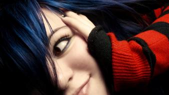 Women blue hair smiling sweater faces Wallpaper