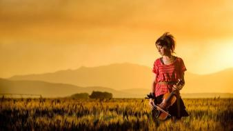 Women sunset fields red dress lindsey stirling violinist Wallpaper