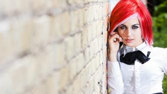 Women wall redheads depth of field noses bowtie wallpaper