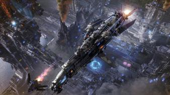 Aircraft cityscapes futuristic fantasy art spaceships wallpaper
