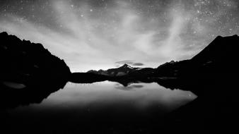 Black and white mountains stars lakes skyscapes wallpaper