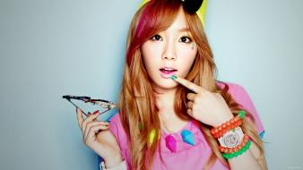 Black asians korean kim taeyeon k-pop faces wallpaper