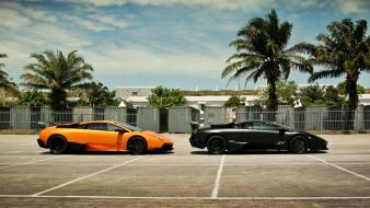 Black orange lamborghini murcielago murciélago lp670-4 sv wallpaper