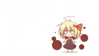 Blondes touhou rumia simple background wallpaper