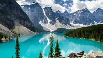 Blue mountains landscapes nature forest lakes wallpaper