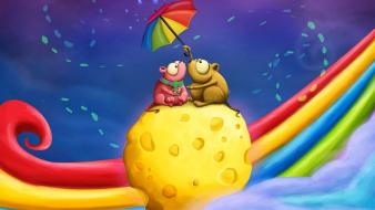 Cheese rainbows umbrellas mice wallpaper