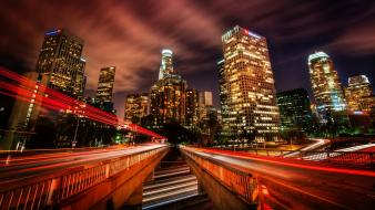 Cityscapes night lights buildings downtown skyscrapers los angeles Wallpaper