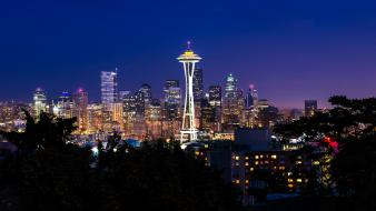 Cityscapes skylines night lights seattle washington wallpaper