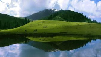 Clouds landscapes nature hills lakes reflections Wallpaper