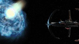 Fiction wormhole multiscreen deep space 9 ds9 wallpaper