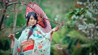 Garden japanese asians umbrellas clothes black hair wallpaper