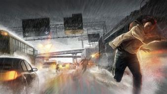 Highway heavy rain Wallpaper