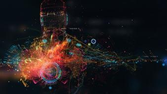 Iron man abstract interface design macro wallpaper