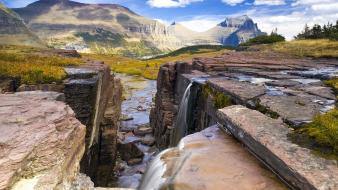 Landscapes falls waterfalls national park montana glacier wallpaper