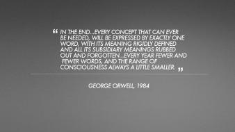Minimalistic text quotes 1984 george orwell grey background wallpaper