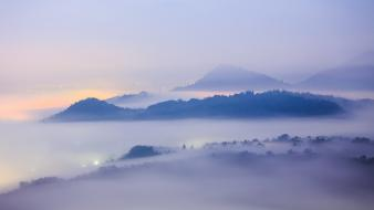 Mountains landscapes cityscapes fog wallpaper