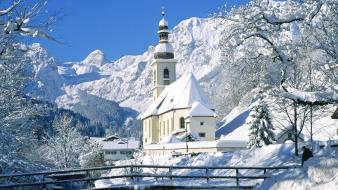 Mountains nature winter germany church wallpaper