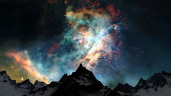 Nature snow outer space night stars colors wallpaper