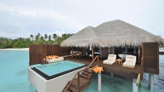 Ocean maldives beach house wallpaper