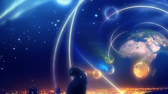 Outer space cats planets nightfall wallpaper