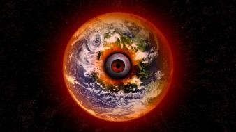 Outer space earth surreal all seeing eye wallpaper
