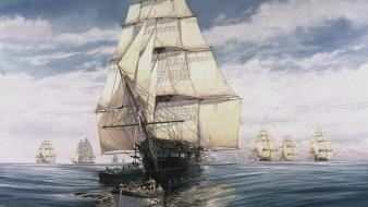 Paintings ships fleet armada wallpaper