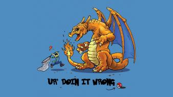 Pokemon dragons artwork charizard ur doing it wrong wallpaper