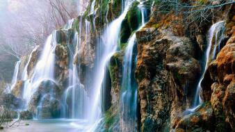 Spain the river waterfalls source Wallpaper