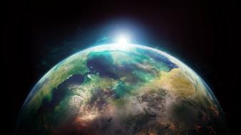 Sun outer space world earth wallpaper