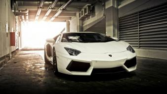 Sun white sunlight garages reflections lamborghini aventador lp700-4 wallpaper