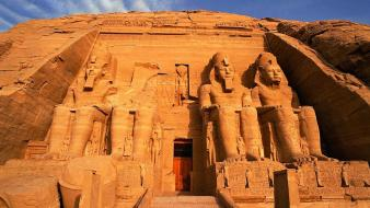 Sunrise egypt egyptian statues skyscapes ramses abu simbel wallpaper