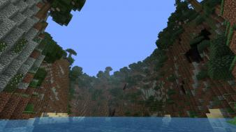 Water mountains landscapes trees jungle minecraft world generator wallpaper