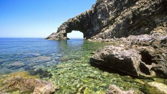 Water rocks sicily sea wallpaper