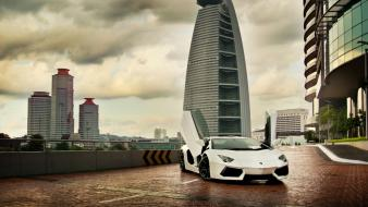 White scissors lamborghini buildings aventador hotels doors wallpaper