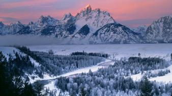 Winter dawn wyoming grand teton national park Wallpaper